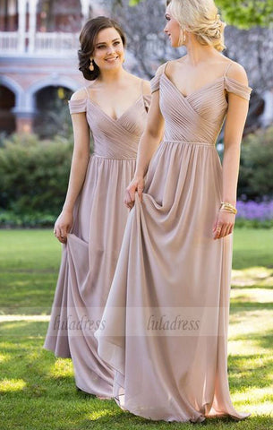 Long Chiffon Bridesmaid Dress with Ruched Bodice,BD99477