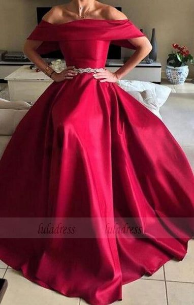 A-line Strapless Short Sleeves Sweep Train Burgundy Satin Prom Dress with Beading,BD98972