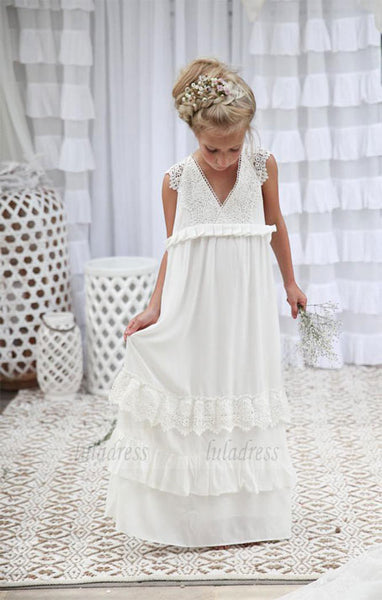 V-neck Long Lace Chiffon Flower Girl Dresses,BD99877