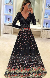A-Line V-Neck Long Sleeves Floral Black Satin Prom Dress with Lace,BD98773