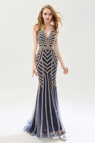 Formal Beaded V-neck Mermaid Long Evening Dress, LX476