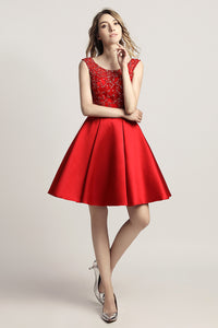 Short A-line Satin With Beading Prom Dress Charming Homecoming Dress, LX439