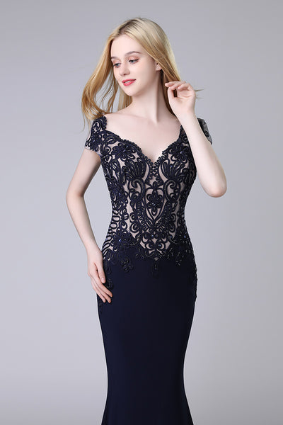 Charming Formal Black Short Sleeves Mermaid Long Evening Dress, LX454