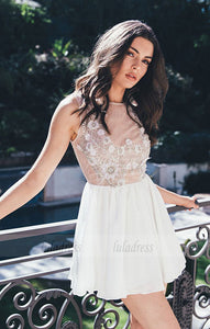 White round neck chiffon short prom dress, cute homecoming dress,BD98446