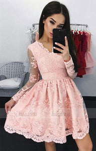 A-Line V-Neck Long Sleeves Short Pink Homecoming Dress with Appliques,BD99482