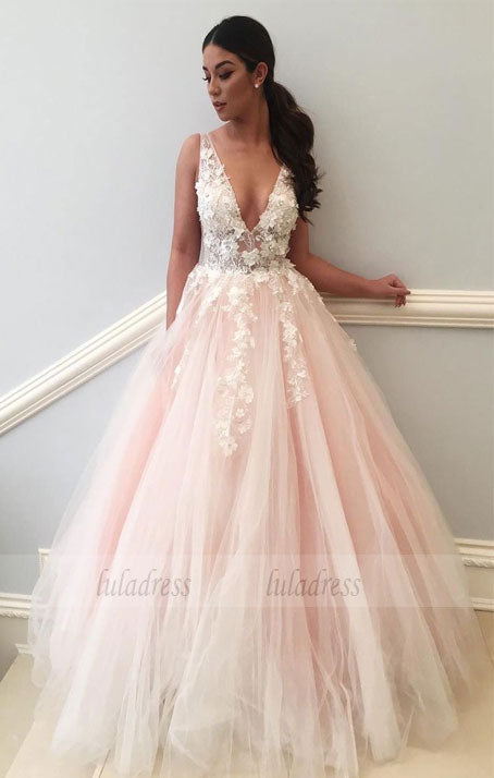 Charming Wedding Dress, Sexy V Neck Appliques Tulle Wedding Dresses,BD99579