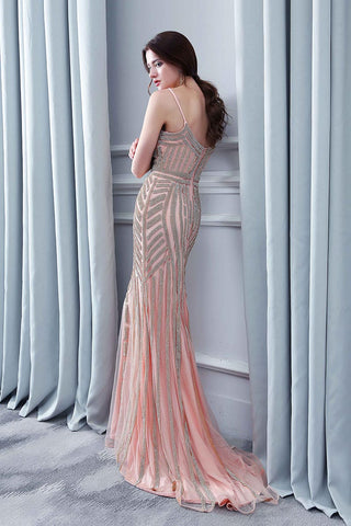 Rose Pink Beaded Formal Long Evening Dress Spaghetti Straps Prom Dress, BS10