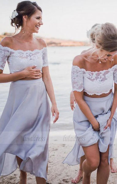 Two Piece Off-the-Shoulder Bridesmaid Dress with Lace,BD99844