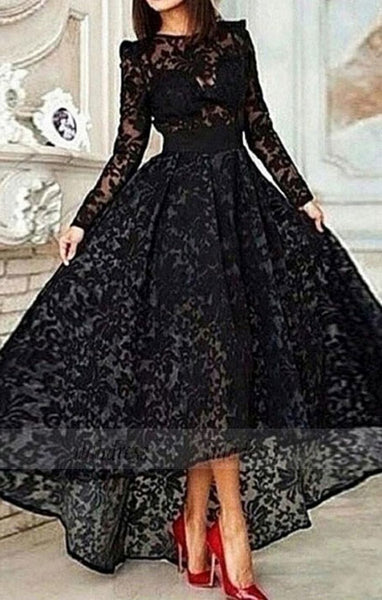 Vintage Asymmetrical Long Sleeve Black Ball Gown High Low Lace Prom/Evening Dress,BD99811