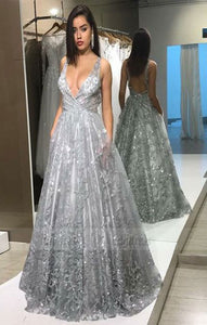 v neck long prom dresses with pockets, luxury backless evening dresses with beading,BD98764