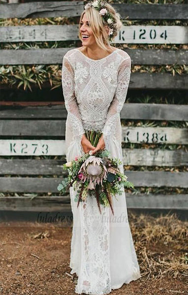 Backless Wedding Dresses,Lace Wedding Dress,Wedding Dress with Sleeves,Rustic Bridal Dress,BD99793