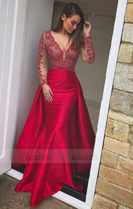 Sexy Deep V Neck Long Sleeves Mermaid Evening Dress,BD98579