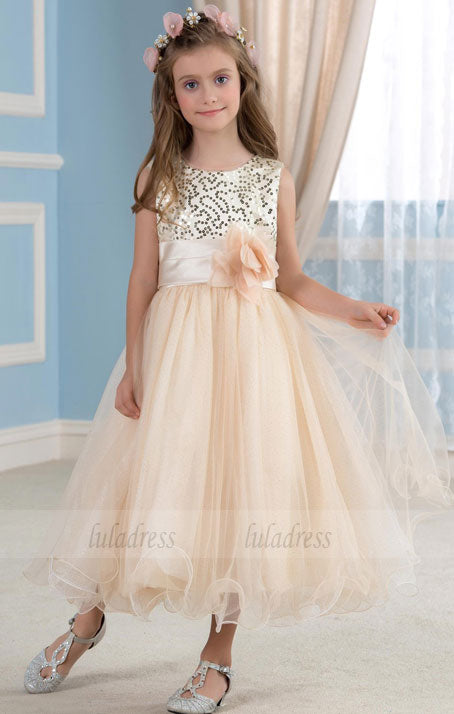 Girls' Gold Sequined Tulle Flower Girl Dress for Wedding Party,BD99763