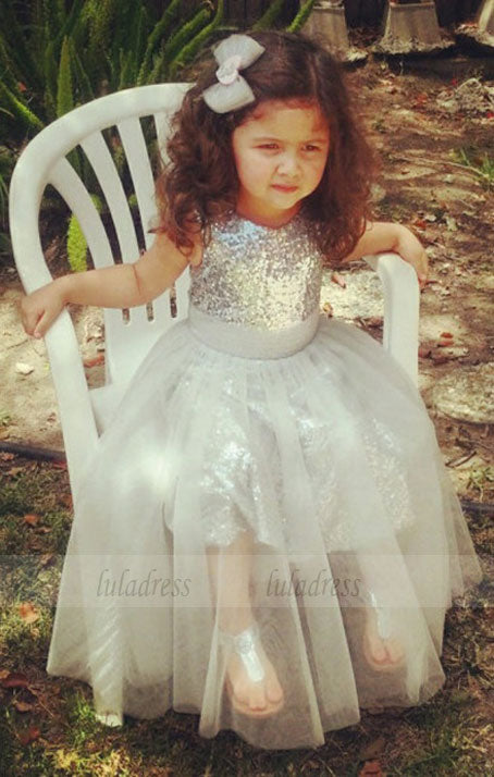A-Line Jewel Tea-Length Silver Tulle Sequined Flower Girl Dress,BD99830