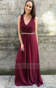 v neck long prom dresses, modest a line plunging evening dresses with pleats beading,BD98763