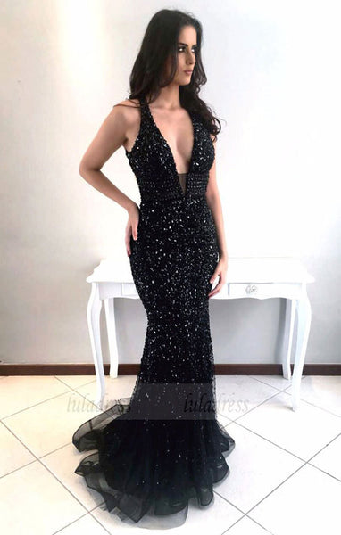 Sexy Black Mermaid Prom Dresses with Rhinestones,Deep V-neck Shine Beaded Long Pageant Dresses,BD98747