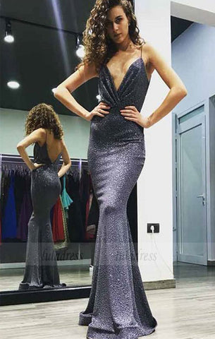 Mermaid Spaghetti Straps Backless Floor-Length Sequin Prom Dress,BD98687