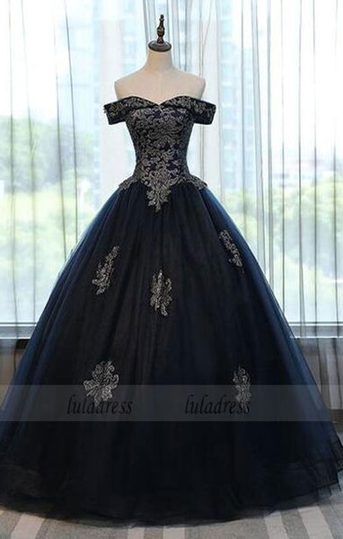 Simple Black Long Prom Dress, Black Evening Dress, Prom Dress Sweep Train,BD9840