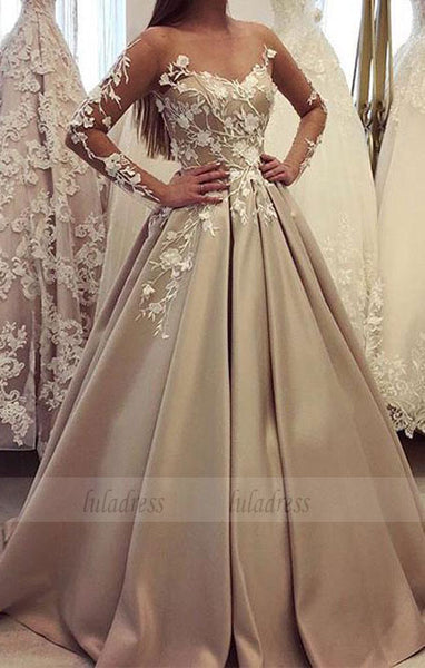 generous long sleeve ball gown, luxury lace wedding dress,BD98650