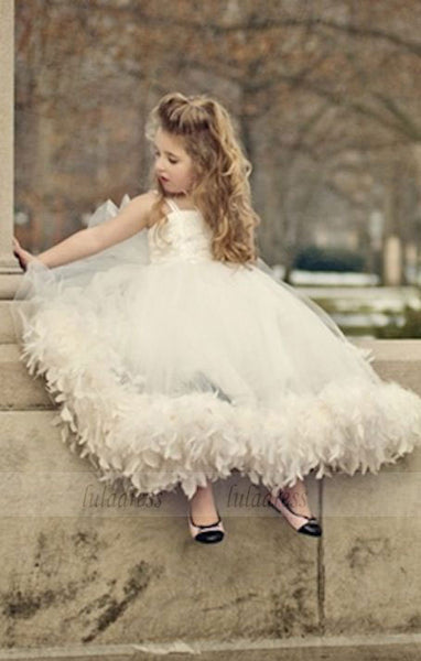 Spaghettis Tulle Feathers Cute Flower Girl Dresses Long Girl's Formal Dresses,BD99856