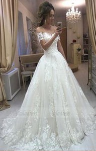 Lace Embroidery Off Shoulder Tulle Wedding Dresses Princess Wedding Dress,BD98174