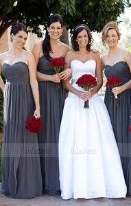 elegant sweetheart chiffon bridesmaid dress,simple chiffon wedding party dress,BD98614