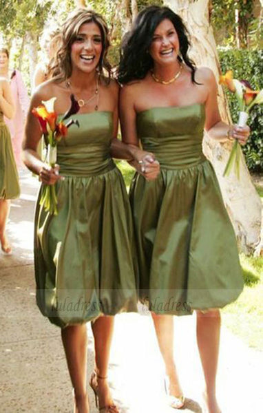 Strapless Sleeveless Bridesmaid Dresses, Olive Short Bridesmaid Dresses, Modest Bridesmaid Dresses,BD98290