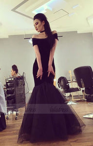 Sexy Off The Shoulder Black Tulle Mermaid Evening Dresses Prom Gowns,BD98038