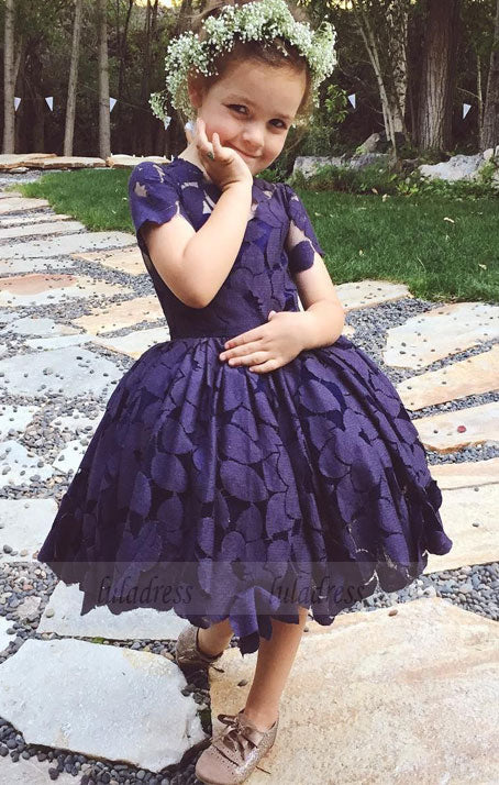 Newest Short Sleeve Knee-Length Lace Jewel Flower Girl Dress,BD99851