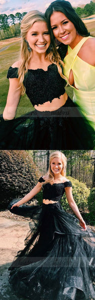 two piece off the shoulder black long prom dress party dress, princess party dress evening dress,BD98741