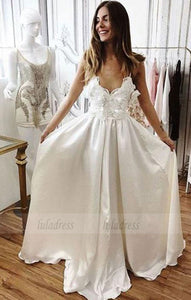 Charming A-Line V-Neck White Lace Long Prom/Evening/Wedding Dress,BD98183