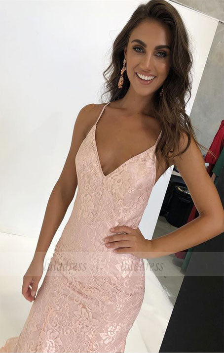 v neck mermaid long prom dress with train, backless prom dress, party dress formal evening dress,BD98736