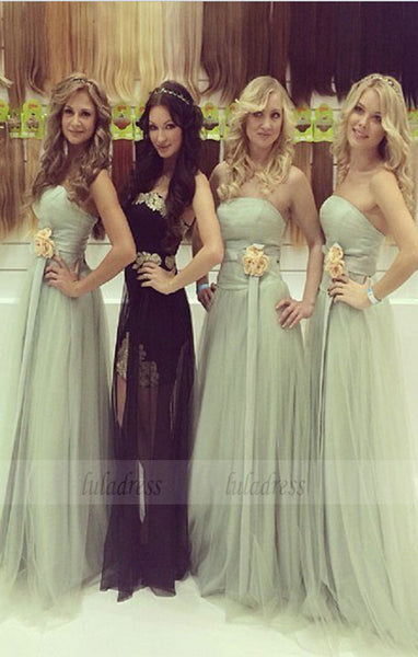 long bridesmaid dress,strapless bridesmaid dress,tulle dress,BD98893