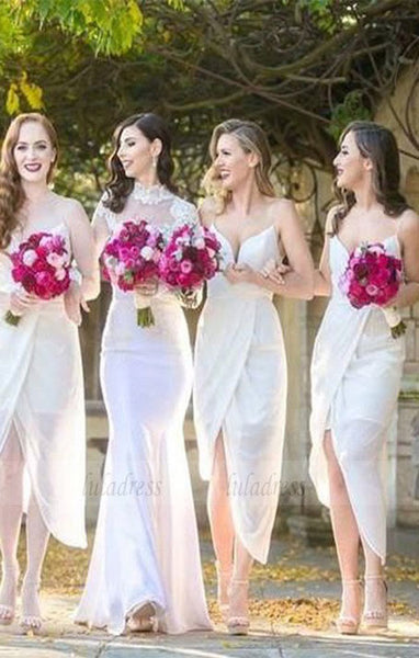 White Chiffon Side Split Spaghetti Strap Sexy Tea Length Cheap Wedding Party Bridesmaid Dresses,BD98887