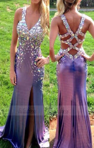 Straps Evening Gowns,Beaded Bodice Formal Gown,Crystals Evening Gowns,Grape Formal Gown For Teens Girls,BD98504