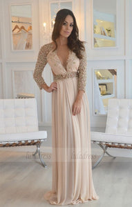 Long Sleeve Beading Prom Dress,Long Prom Dresses,Prom Dresses,Evening Dress,BD99034