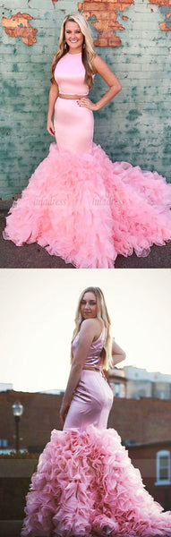 pink mermaid prom dress,two piece prom dress,2 piece prom dress,ruffle gowns,prom dresses,BD98153
