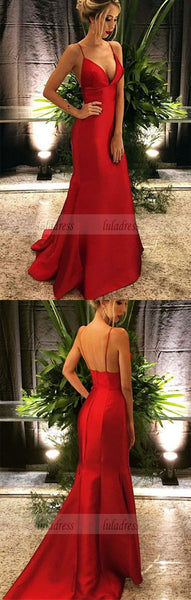 V-neck Long Satin Prom Dresses Mermaid Prom Dresses Women's Formal Evening Gowns,BD99362