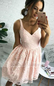 Lace Homecoming Dresses, A-Line V-Neck Short Pearl Pink Lace Homecoming Dress,BD99363
