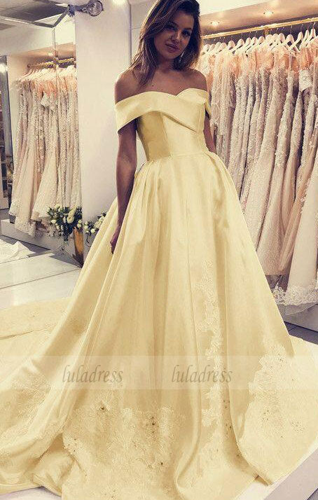 Lace Embroidery Satin Wedding Dresses Ball Gown Off The Shoulder Prom Dress,BD99365