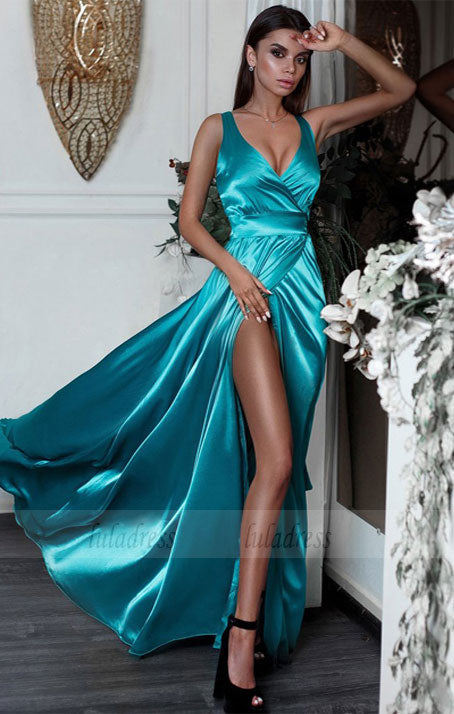 V-neck Neckline Sweep Train A-line Prom Dress,BD98569