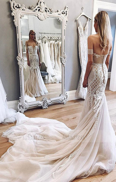 Mermaid Wedding Dresses,Off-the-Shoulder Wedding Dress,Chapel Train Wedding Dress,BD99638