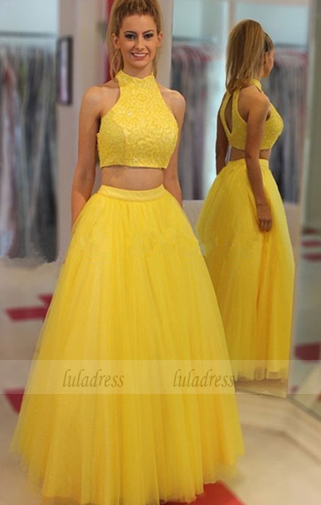 Yellow Two Pieces Prom Dress with Beaded Top,BD99478