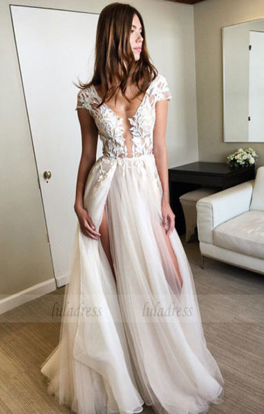 Long A-line Prom Dresses,Two High Slit Prom Dresses,Cap Sleeves Teens Party Dresses,BD99894