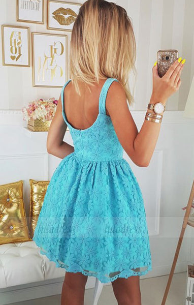 Short Blue Lace Homecoming Dress Party Dress,BD98243