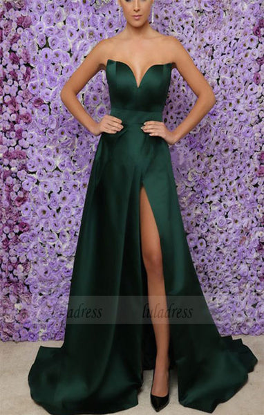 Emerald Green Long Satin V-neck Leg Split Prom Evening Dresses,BD98066