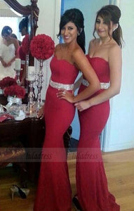 Crystal Mermaid Sweetheart Red Formal Dresses Gorgeous Bridesmaid Dress Long Bridal Gowns,BD98301