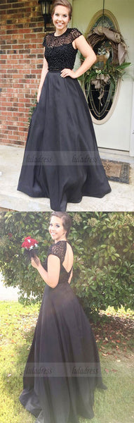 Two Piece Black Open Back Beading Jewel Cap Sleeves Sweep Train Prom Dress,BD99776