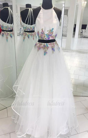 Two Pieces White Tulle Long Prom Dress,BD98178