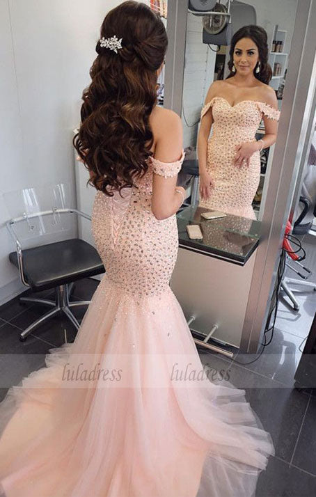 Luxurious Beaded Off Shoulder Mermaid Evening Dresses Bodice Corset Prom Dress,BD99550